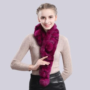 Luxury-2020 Handmade Winter Warm Soft Real Fur Scarf Women Knitted Natural Real Fur Ring Scarves Neckerchief