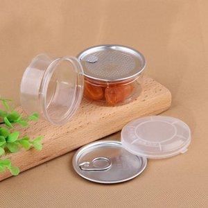 Limpar liga de plástico animal de estimação com tampa de metal lata hermética lata pode puxar anel bho oi concentrado recipiente alimento erva armazenamento 100ml cca3107