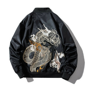 Spring New Mens Bomber Jackets Embroidery Dragon Jacket MA1 Pilot Thin Coats Outerwear