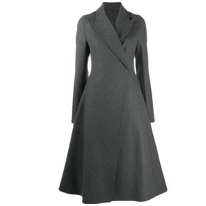Vintage Woolen Coat Women Fashion Skirt Style Autumn and Winter slim long Outwear