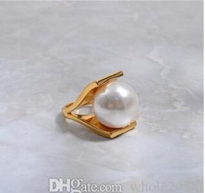 Imitation Finger Exaggeration Gift Gold Jewelry Rings Party For Girls Metal Color Personality Women Design Pearls Hollow sqcQq hat7890