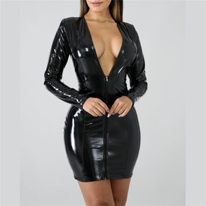 Women Faux PU Leather Dresses Deep Vneck Zippers High Elasticity Dress Sexy Club Party Oversize 3XL Plus Size Lady Dress G1268