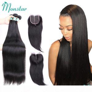 Monstar 30 32 34 36 38 40 inch Brazilian Hair Weave Bundles with Closure Straight Hair Bundles with Closure Human Hair Extension