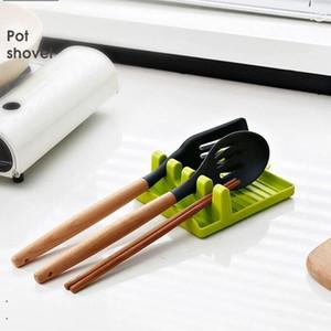 Küchengeräte-Regal-Löffelhalter-Ständer-Kunststoffpfanne-Schaufel Ruhen für Topf-Abdeckung Besteck Spatelhalter-Rack Küchenzubehör DHE3728
