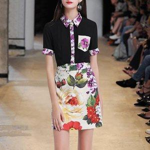 Western-style dress suit European 2020 summer new short-sleeved shirt print half-length skirt commuter temperament two-piece trend
