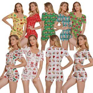 Designer Women Pajama Onesies Christmas Print Nightwear Playsuit Workout Button Skinny Hot Print Jumpsuits Short Rompers Plus Size 817 BG