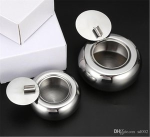 Car Drum Shape Cigarettes Holder With Lid Stainless Steel Round Dustproof Ashtray Popular Ashtrays Gadgets New Arrival 18 8xm2 E1