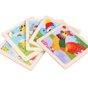 Wooden Puzzles Toys 9PCS Cartoon DIY Buliding Animals Thickened Puzzles Wooden Toy For Children Cognition Puzzle Birthday Gifts For Kids