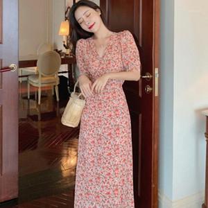 Vestido de gasa elegante Dulce temperamento Bellflower Floral Prints Vestido Sexy Cuello en V Vestidos1