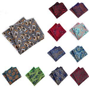 Luxury Jacquard Silk Pocket Square 23*23cm Paisley Striped Floral Hanky for Man Business Wedding Suit Handerkerief