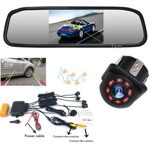 Car Reverse Video Parking Radar 4 Sensor Rear View Backup System Sound Buzzer Alert Alarm with CCD Camera 5 INCH Mirror Monitor