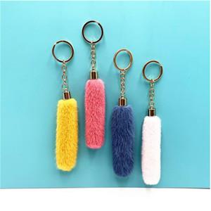Bonito borla pelúcia keychain bolsa dos desenhos animados carro pingente chave chaveiro anel ornamentos acessórios criativos presentes PPA3258