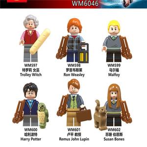 해리 포터 블록 WM6046 트롤리 마녀 Malfoy John Lupine Susan Magic Movie Action Figure Blocks Heads Moc Bricks Toys