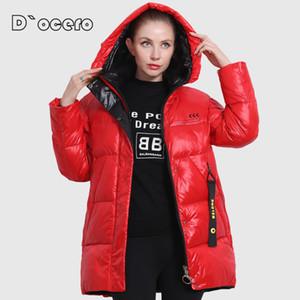 D`ocero novo jaqueta de inverno mulheres plus size cores brilhantes casaco feminino com capuz espessas biológica jaqueta biológica parka outwear 20124
