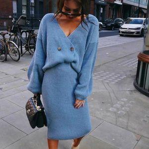 2021 осень зима сексуальный V-образным вырезом свитер вязаный юбка костюм элегантные вязаные женские летучая мышь рукав синий розовый костюм юбки хаки