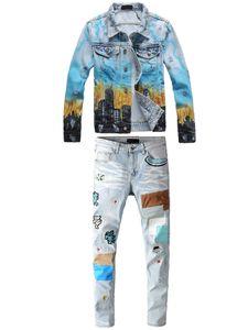 العلامة التجارية الشهيرة الأزرق الرجال قطعتين مجموعة جديدة التنين طباعة كتابات سليم الدينيم سترة + التصحيح هول تمتد جينز جينز مجموعات