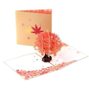 Creative 3D Maple Tree Popup Handmade Foldable Thanksgiving Card Holiday Greeting Festival Gifts
