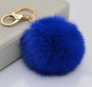 Multi Color Pink Rabbit Fur Ball Keychain Bag Plush Car Key Holder Pendant Key Chain Rings For Women 2020 N wmtbqi dayupshop