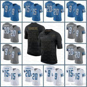 ديترويت20 باري ساندرز مخصص الرجال الأسودجيرسي 1 جيف أوكودا 9 Matthew Stafford 19 Kenny Golladay 81 Johnson Okudahfootball Jersey