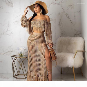 Cover Ups Summer Holidays Beach Swimwear Female Tassel Panelled Dress Sexy Women Solid Clothing Women Knitted Hollow