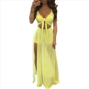 Women Solid Sexy Sleeveless V neck Summer Holiday Chiffon Party Evening Beach Dresses Long Maxi Dress Sundress
