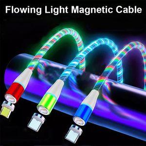 LED 흐르는 빛 자기 충전 케이블 3 in 1 어댑터 USB 라인 타입 C 마이크로 빛나는 고속 충전 와이어 휴대 전화