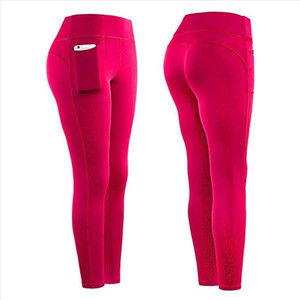 Leggings Sports Women Fitness High Waist Stretch Athletic Gym Casual Leggings Running Sports Pockets Active Pants For Cell Phone