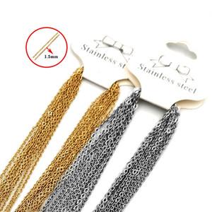 Cadenas de Hop Hop Collar Hombres Mujeres Color de oro Acero inoxidable 45 cm o enlace Collares de cadena cubana para joyería DIY Fabricación de accesorios 10pcs / lote