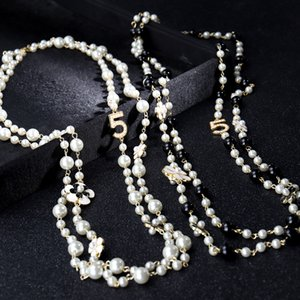 Trendy Long Simulated Pearl Beads Necklace for Women No.5 Double Layer Collane Lunghe Donna Camelia Maxi Necklace Wedding Party Necklace