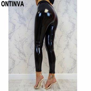 Black Wetlook Push Up Leggings for Women Slim Shinny High Waist Legins Femme Autumn Winter Faux Leather S M L XL Mujer Hot Pant Q1119