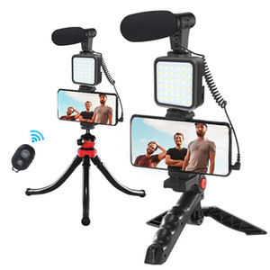 Flexible Tripod for Phone DSLR Camera with Microphone LED Light Mobile Phone Holder Vlog Video Stand for Smartphone YouTube Live