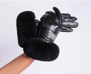 Frauen Winter Pelz Plüsch Echtes Leder Softs Kühle Elastische Halbfingerkaninchen Warme Schaffell Sexy Antrieb Motorrad Damen Touch Screen Handschuhe