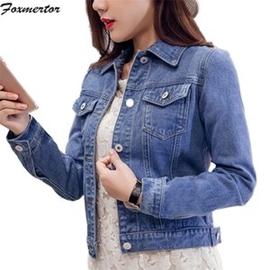 Women's Blue Coat 2020 Autumn Jackets for Women Jeans Single Breasted Denim Coats Female Feminine Clothing Q1119
