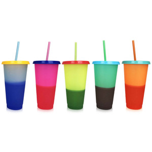 Creative 24oz Temperature Color changing Magic Cup Reusable Coffee Mug Plastic Drinking Tumblers with Lid and Straw 700ml SEA WAY DHF2910