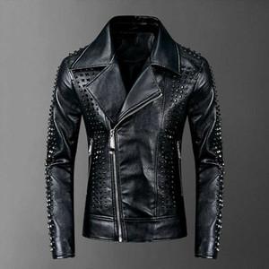 High Quality Rivet Jacket 2020 Punk Rock Faux Leather Men Coat XXXL
