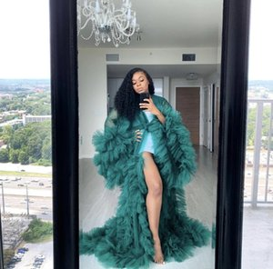 Sexy siehe Tüll Rüschen lange schwangere Frau Abendkleider Kimono Tiered Geruch Robe Prom Gowns Puffy Sleeves Afrikanische Kap Cloak