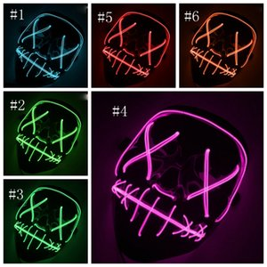 Halloween LED Mask Neon Skull EL Wire Masks Scary Party Cosplay Halloween Costume 10 Colors LQPYW1381