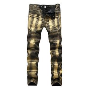 Mcikkny мужские плиссированные джинсы мотоцикла золото серебро окрашены напечатанные байкер джинсы прямые тонкие джинсовые брюки размер 28-42