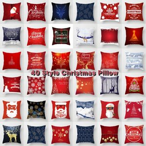 Christmas Gold Elk Covers Red Sofa Pillow Case Decoration Cushion Cover Xmas Home Office Decor 40 Designs