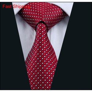 Herren Red Krawatte Set Seide Jacquard gewebt Hankerchief Manschettenknöpfe Set Seidengeschäft formal W Qyljji Homes2007