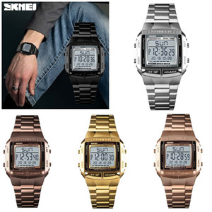 SKMEI Military Sports Watch Men's Electronic Watches Busines Alarm Clock Waterproof Multifunction LED Digital Steel Strap Wristwatches