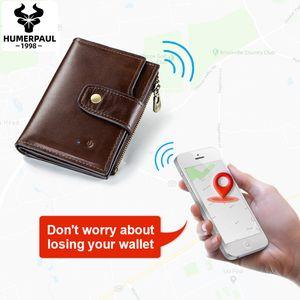 Humerpaul Akıllı Cüzdan RFID Deri Alarm GPS Harita Anti Kayıp Akıllı Bluetooth Alarm Erkekler Çanta Yüksek Kaliteli Cüzdan