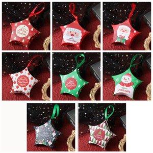 Création Mini Christmas Candy Boxes Xmas Vacances Stars Rubans Beaux-cadeaux Boîtes d'emballage Colorful Paquet de cuisson coloré Décorations de fête GWF3838