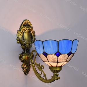 Wandleuchte Single Head Sunflower European Retro Mediterranean Blue Glass Spiegel Light E27 110-240V Für Wohn-Esszimmer Schlafzimmer Balkon DHL