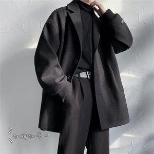 2020 Men's Suit Collar Woolen Blends Loose Windbreaker Cashmere Long Wool Trench Coats Snow Jackets In Warm 3 Color Parkas M-2XL
