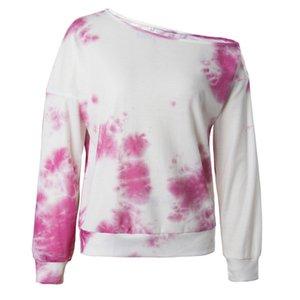 Women Designer Clothes Women Tops Tie-dye Long Sleeves Off Shoulders Sweatershirt Pullover Autumn Winter Blouse Sweater CZ111605