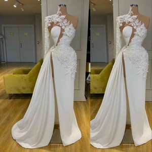 2021 New Sexy Arabic Exquisite Lace White Prom Dresses High Neck One Shoulder Long Sleeve Formal Evening Gowns Side Split Robes De Mariée