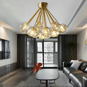 Postmodern All Copper LED Crystal Ceiling Lamps Chandeliers Lighting Fixtures Nordic Living Room Luxury Bedroom Decor Luminaria