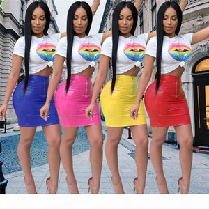 Sexy PVC Midi Women Tshirt Dress Two Piece Set Shinny PU Leather Lady Bodycon Bandage Zipper Night Club Dress