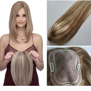 Free Shipping Balayage #10 60 Color Silk Base Human Hair Toppers for Women Clip in Top Hairpiece Toupee for Thinning Hair